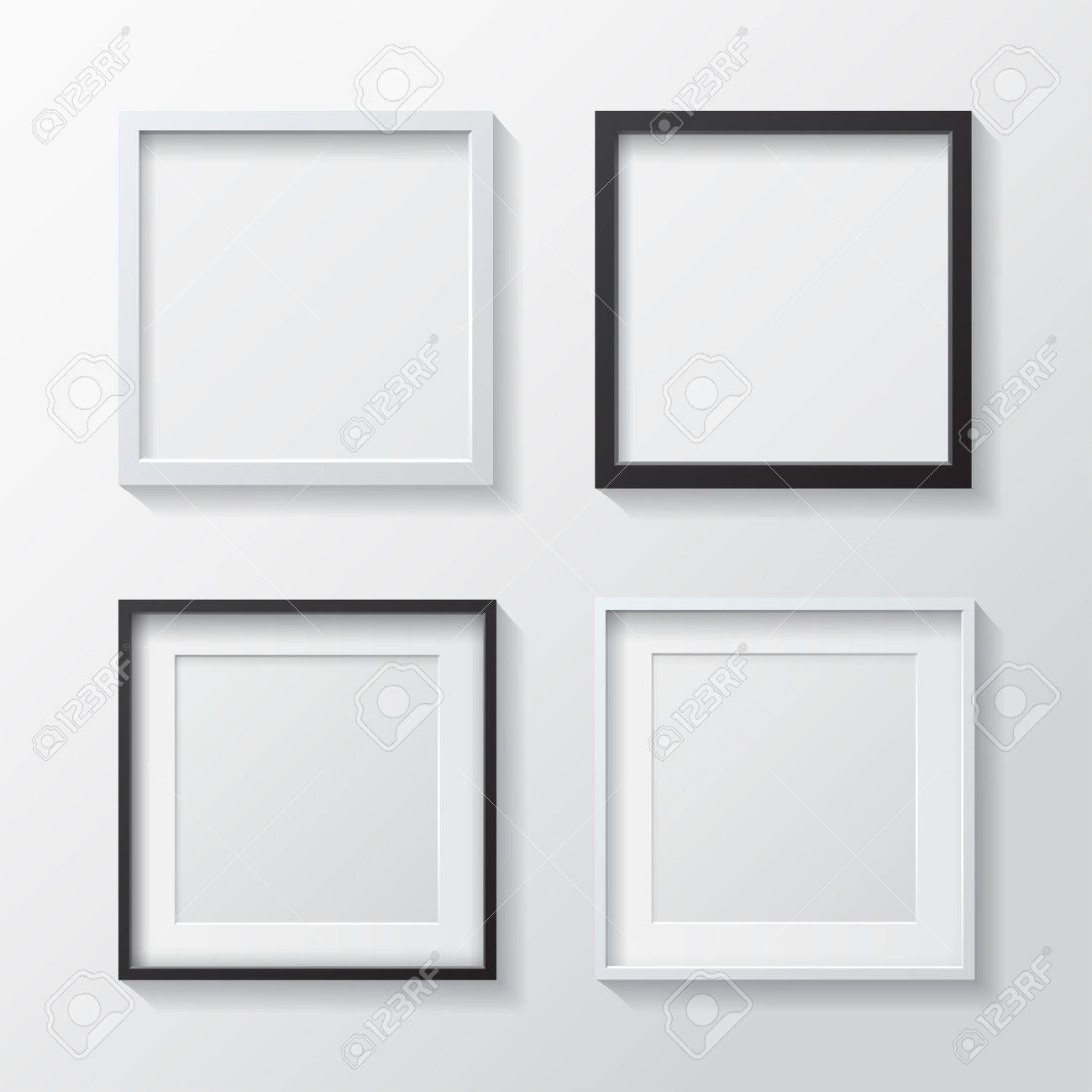 Set Of White Blank Picture Frames And Black Blank Picture Frames ...