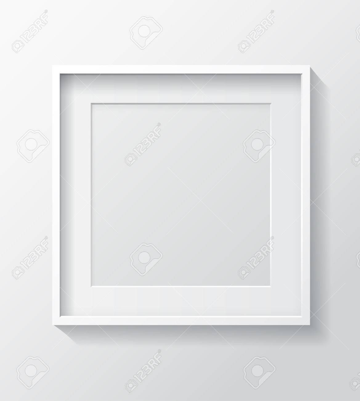 Realistic Square White Blank Picture Frame, Hanging On A White ...