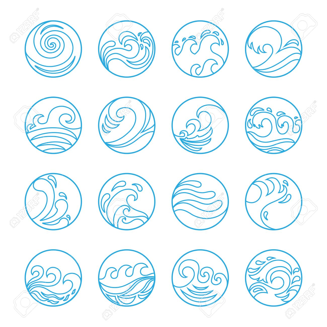 Wave icons set water symbol or logo design ocean sea beach flat wave icons set water symbol or logo design ocean sea beach biocorpaavc Choice Image
