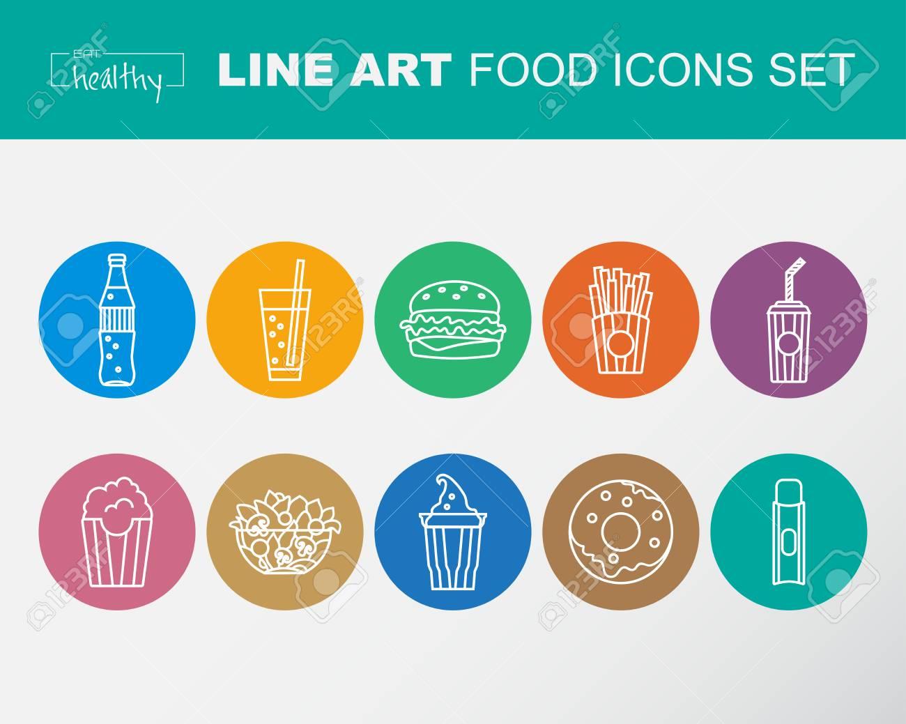 Ensemble Dicnes Alimentaires Style De Ligne Mince Design Plat Contour Modle Pour Le Restaurant Et Bar Icnes Fo Cartes Visite