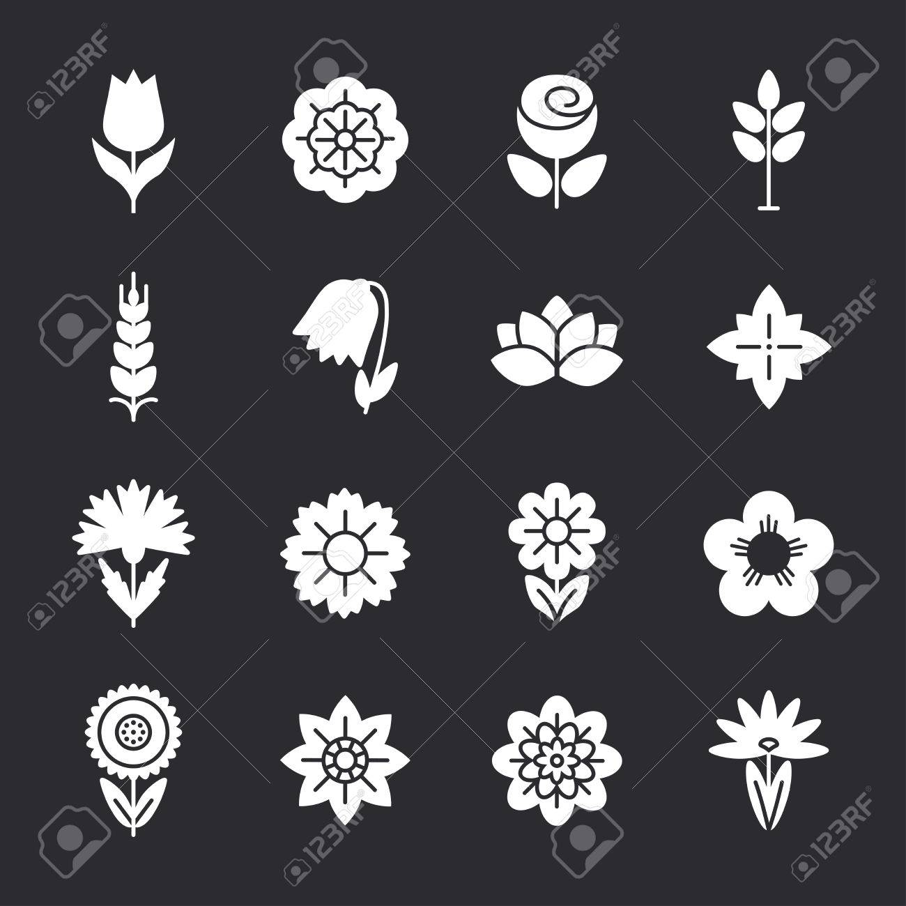 flower icons set modern thin contour line template for business