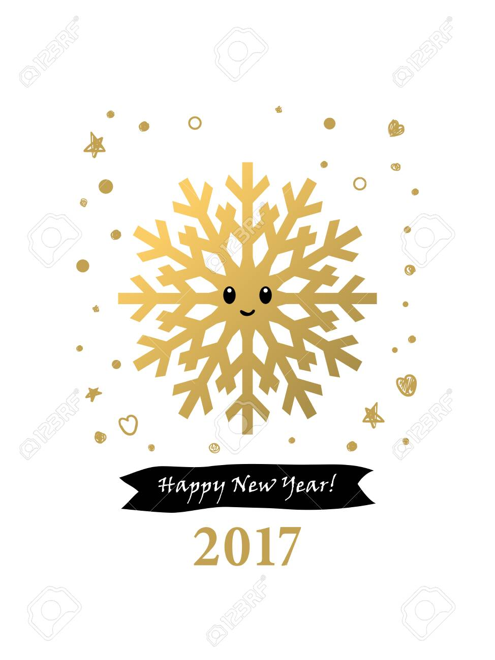 2017 Happy New Year Card Or Background.Trendy Style With Hand ...