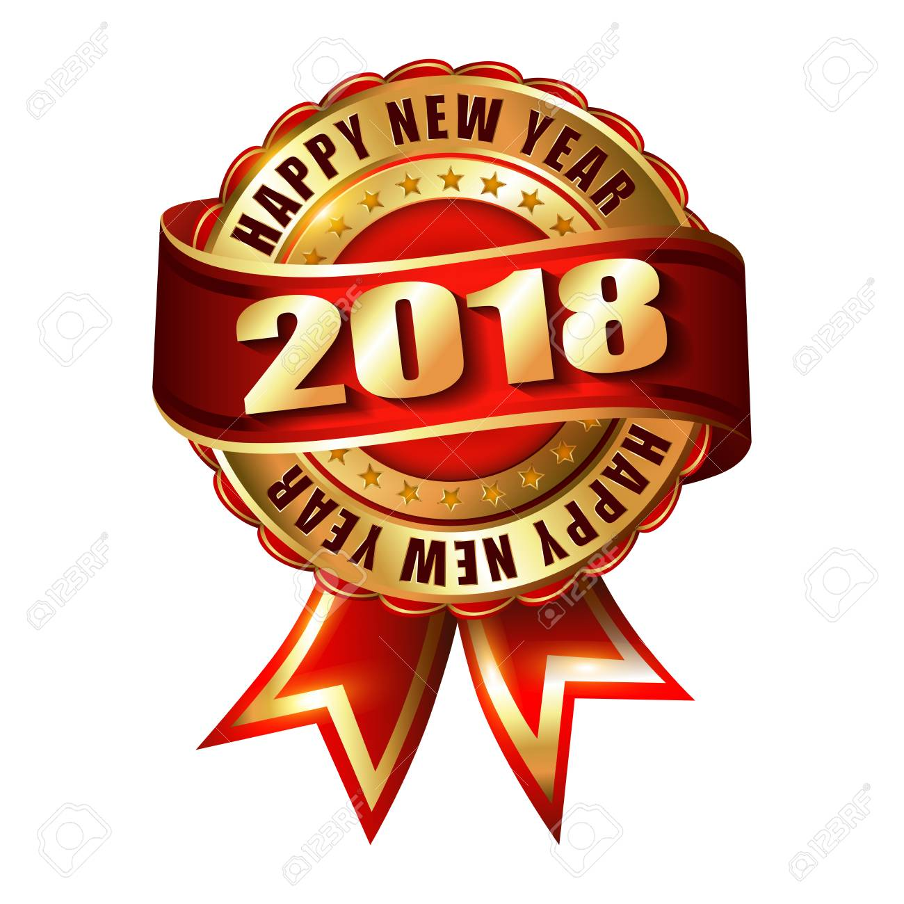 happy new year 2018 golden label and stamp stock vector 85063413