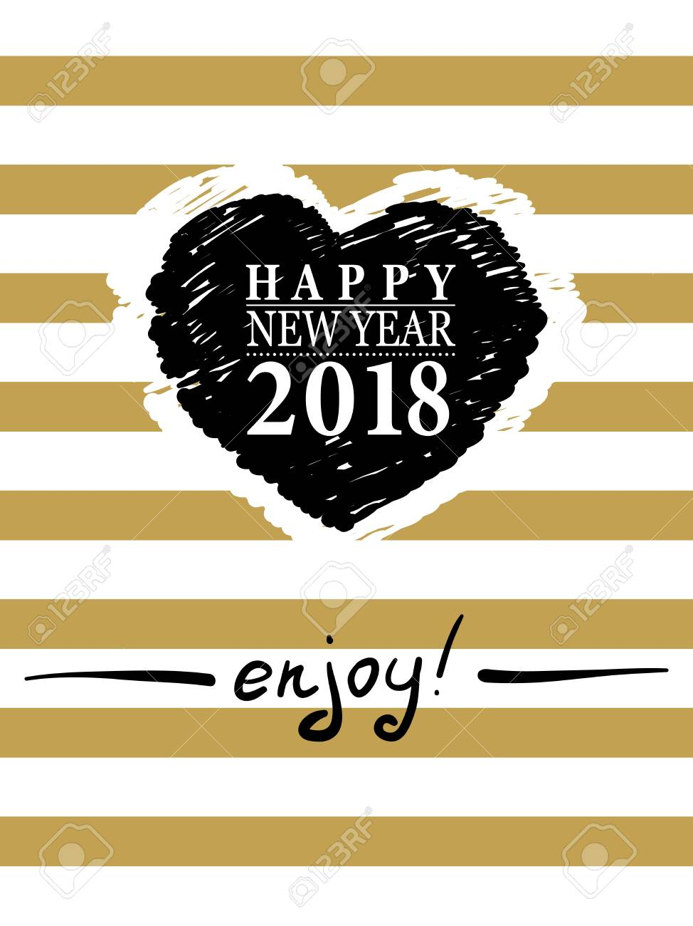 2018 happy new year card or background trendy style with hand lettering words