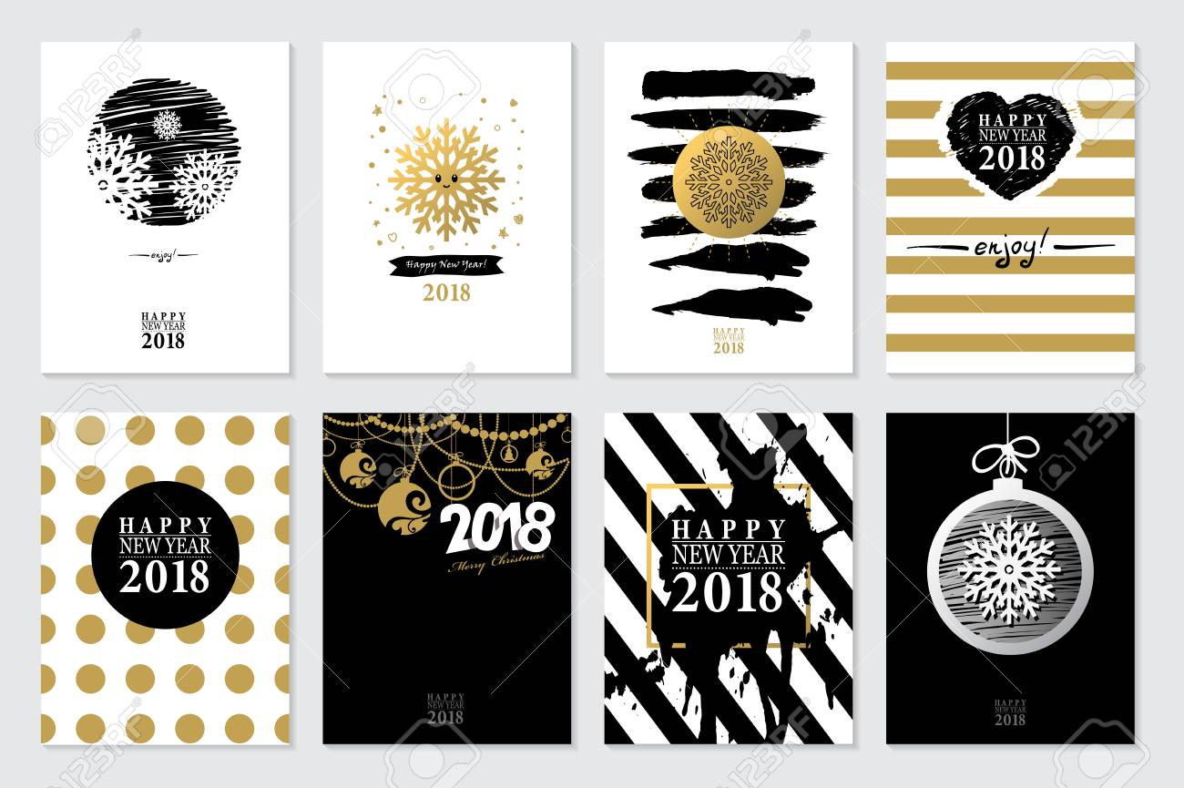 2018 set of happy new year card or backgroundtrendy style with hand lettering