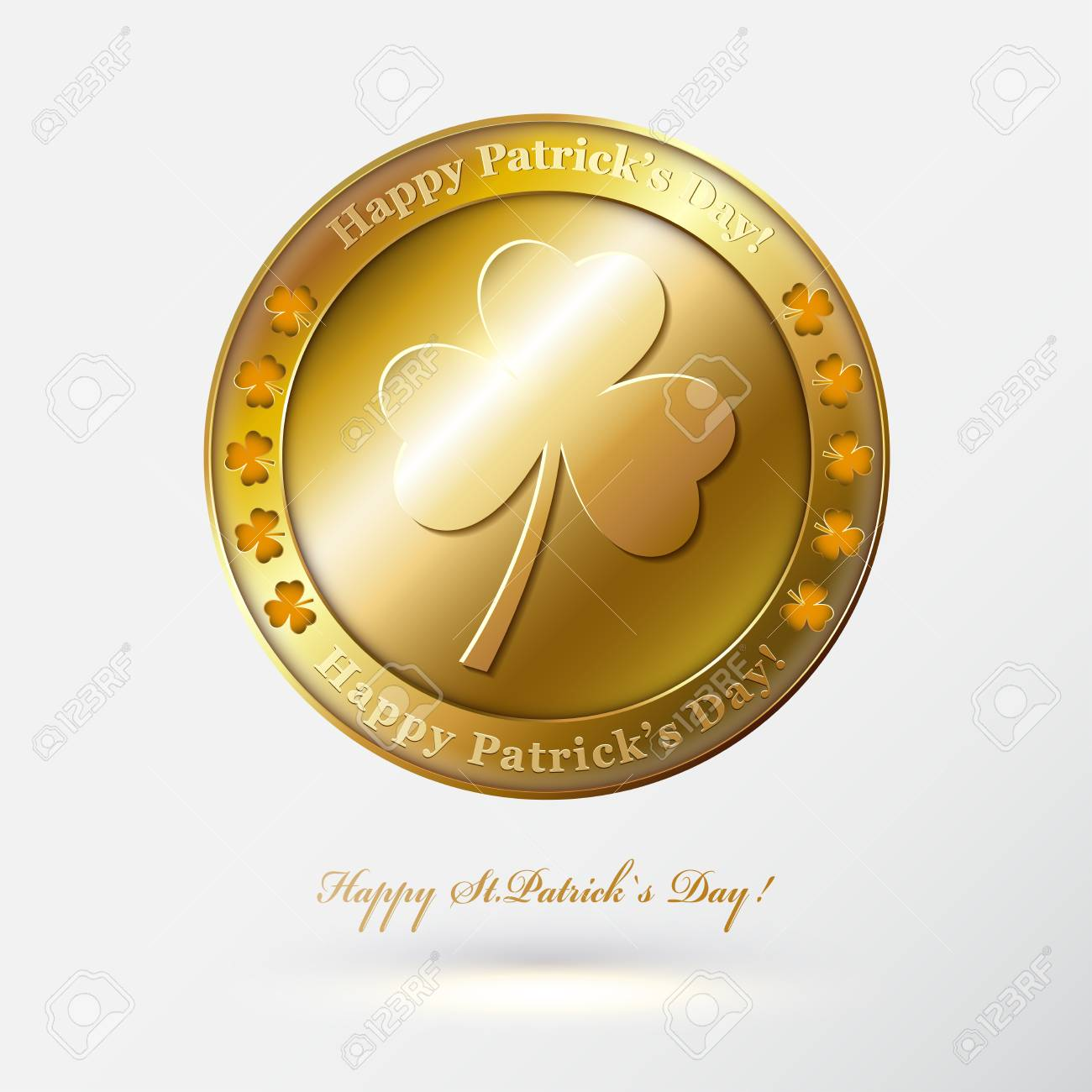 photograph about Printable Gold Coins called Delighted St Patricks Working day card or history with fair gold..