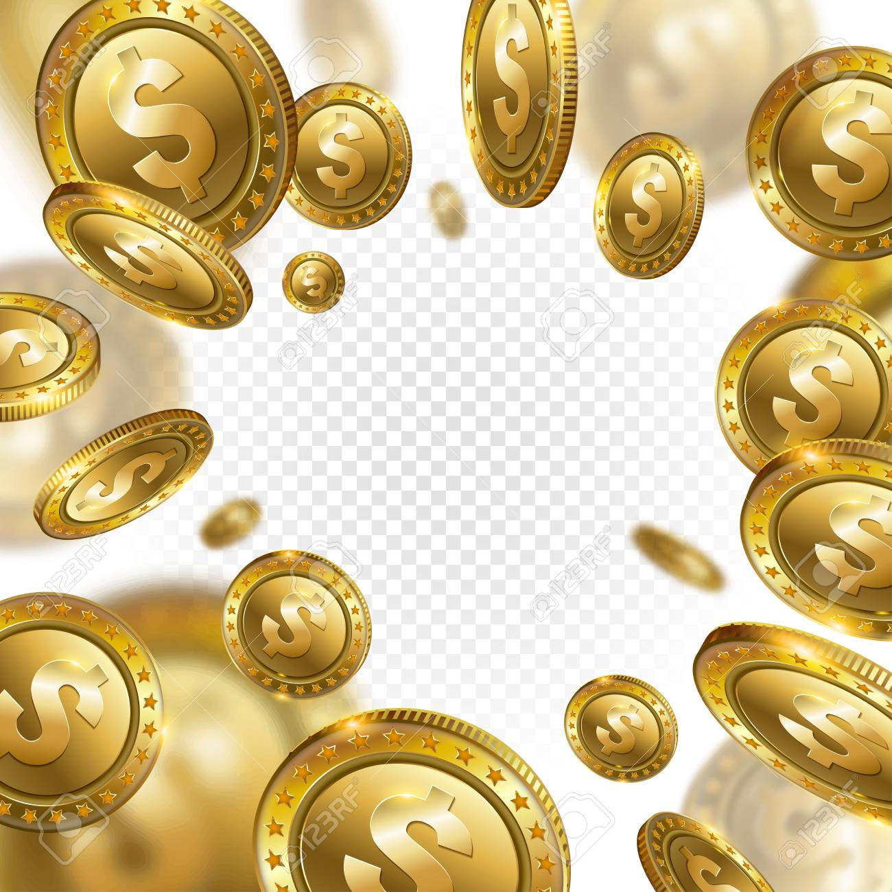 fortune realistic 3d gold dollar coins flying on transparent
