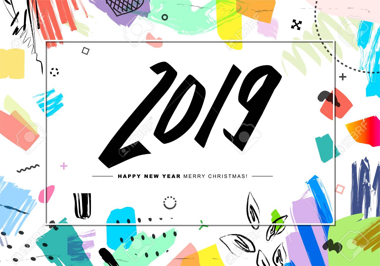 2019 merry christmas and happy new year card or background creative universal floral artistic cover