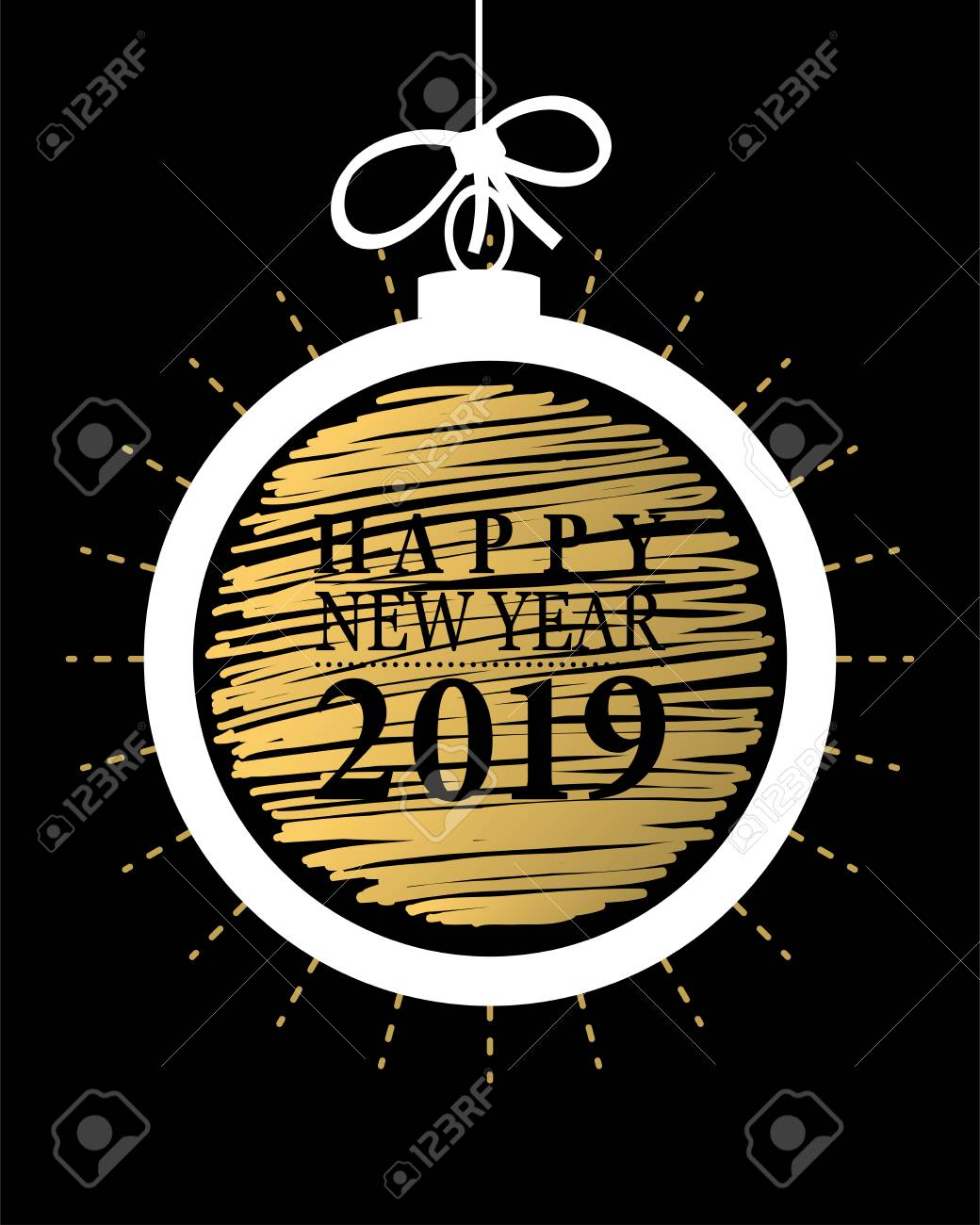 2019 happy new year card or backgroundtrendy style with hand lettering words