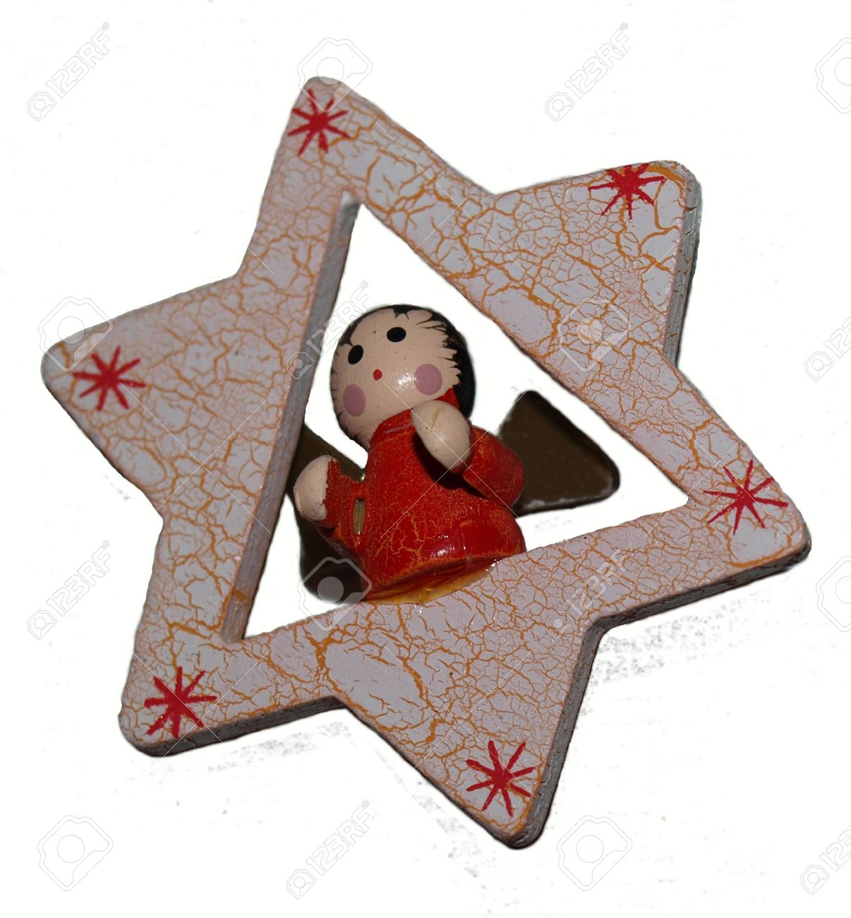 Christmas Decorations, Star, Angel, Wooden, Christmas Toy, Handmade,  Painting,