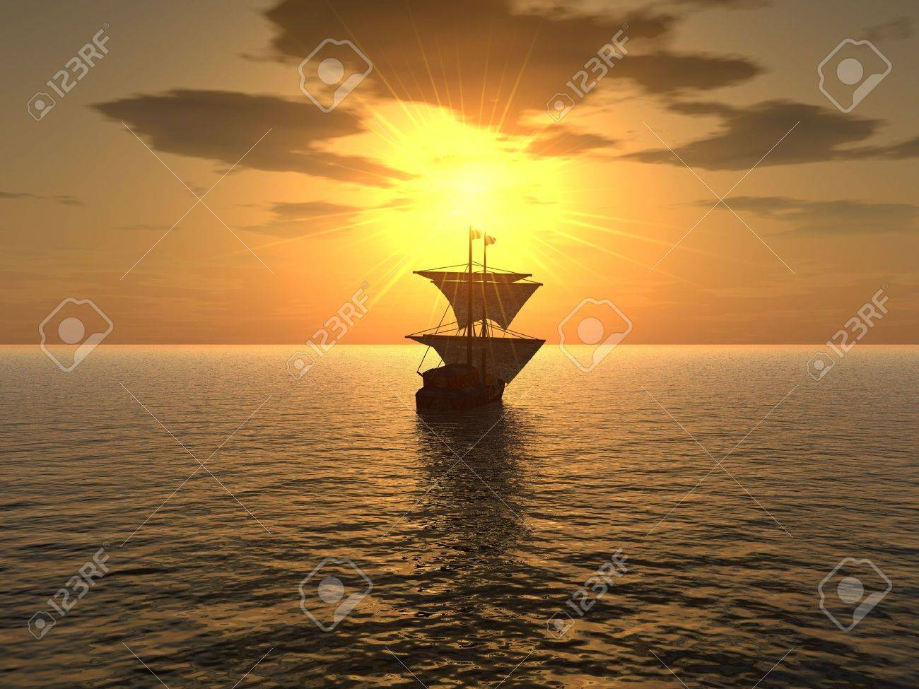 The ship floating in a distance on a background of very effective sunset Stock Photo - 944951