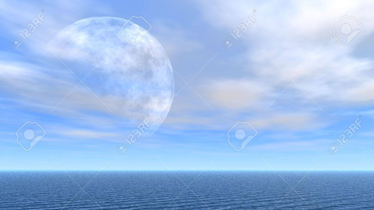 Outlines of the moon among the clear sky (above horizon of the sea) Stock Photo - 1745955