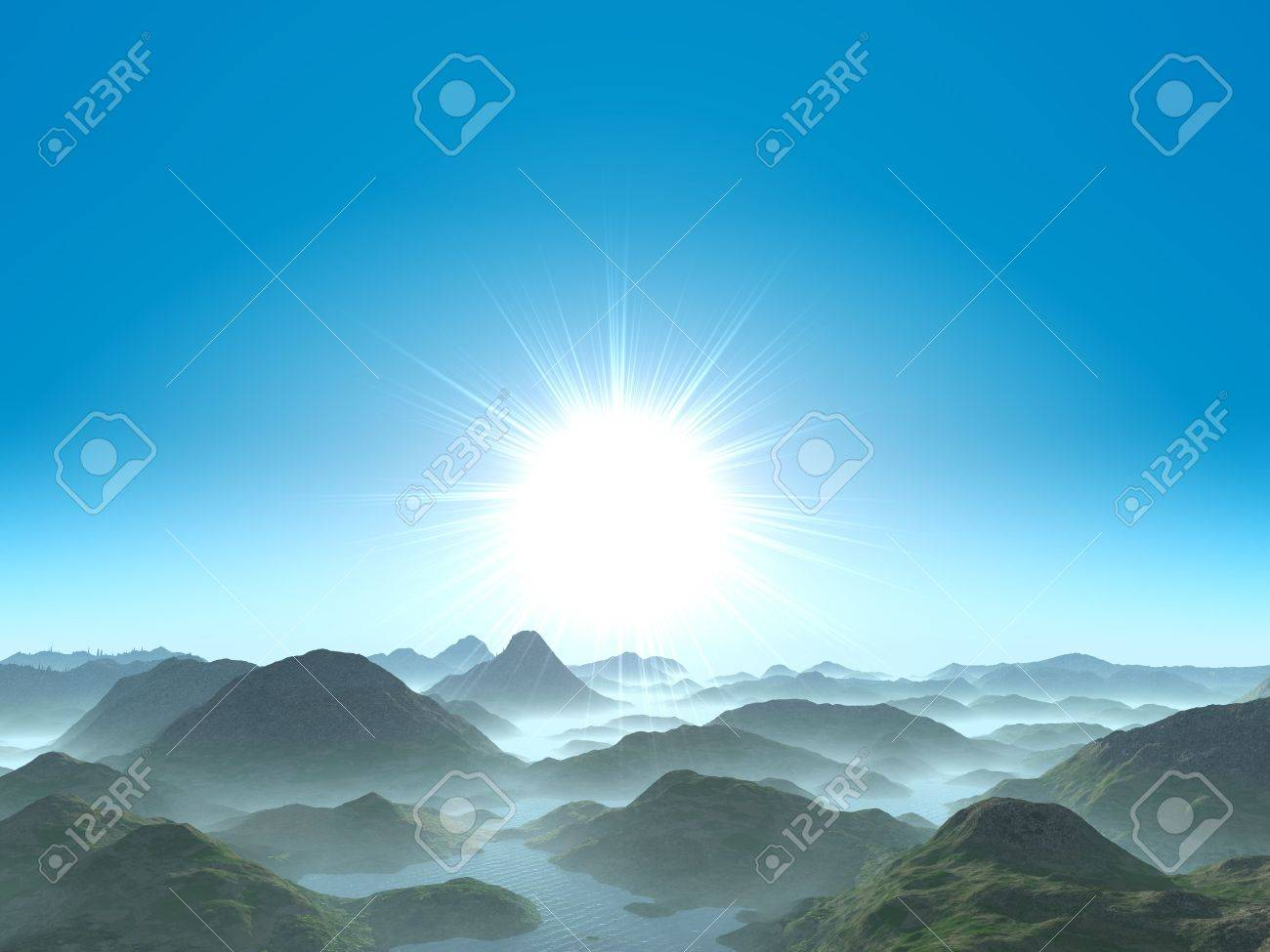 Fantastic dawn above hilly district the filled in water.The sky without clouds Stock Photo - 1755236