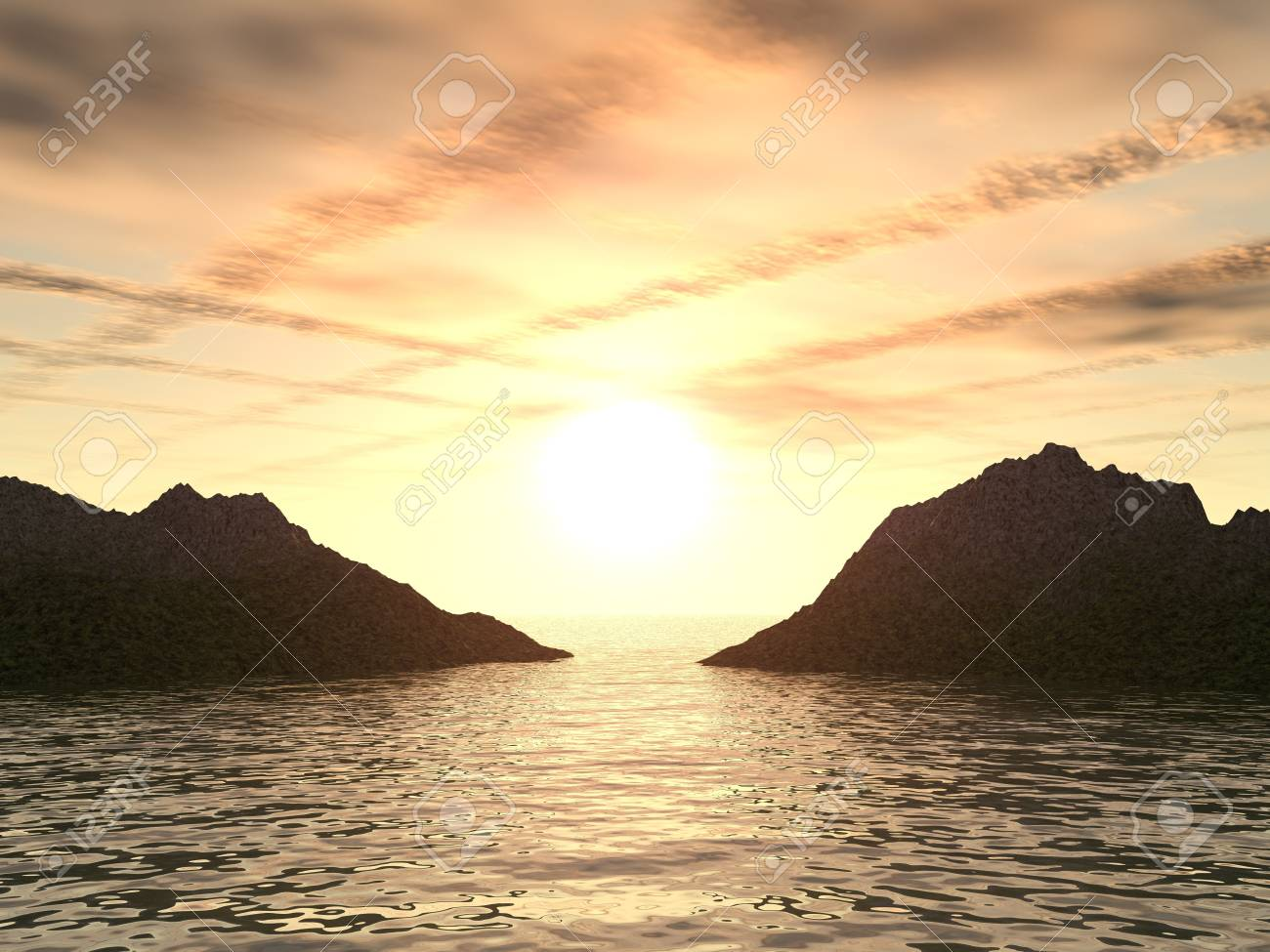 Sunset above the sea and mountains with very extremely original clouds Stock Photo - 1755555
