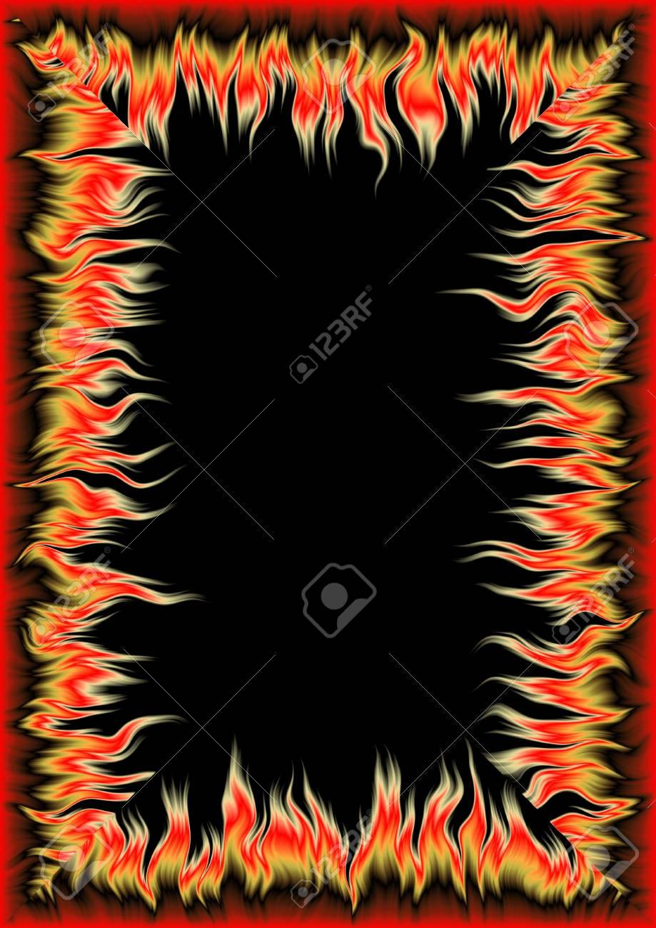 Hohe Auflösung Rahmen Mit Elementen Einer Flamme (Größe 4 300dpi ...