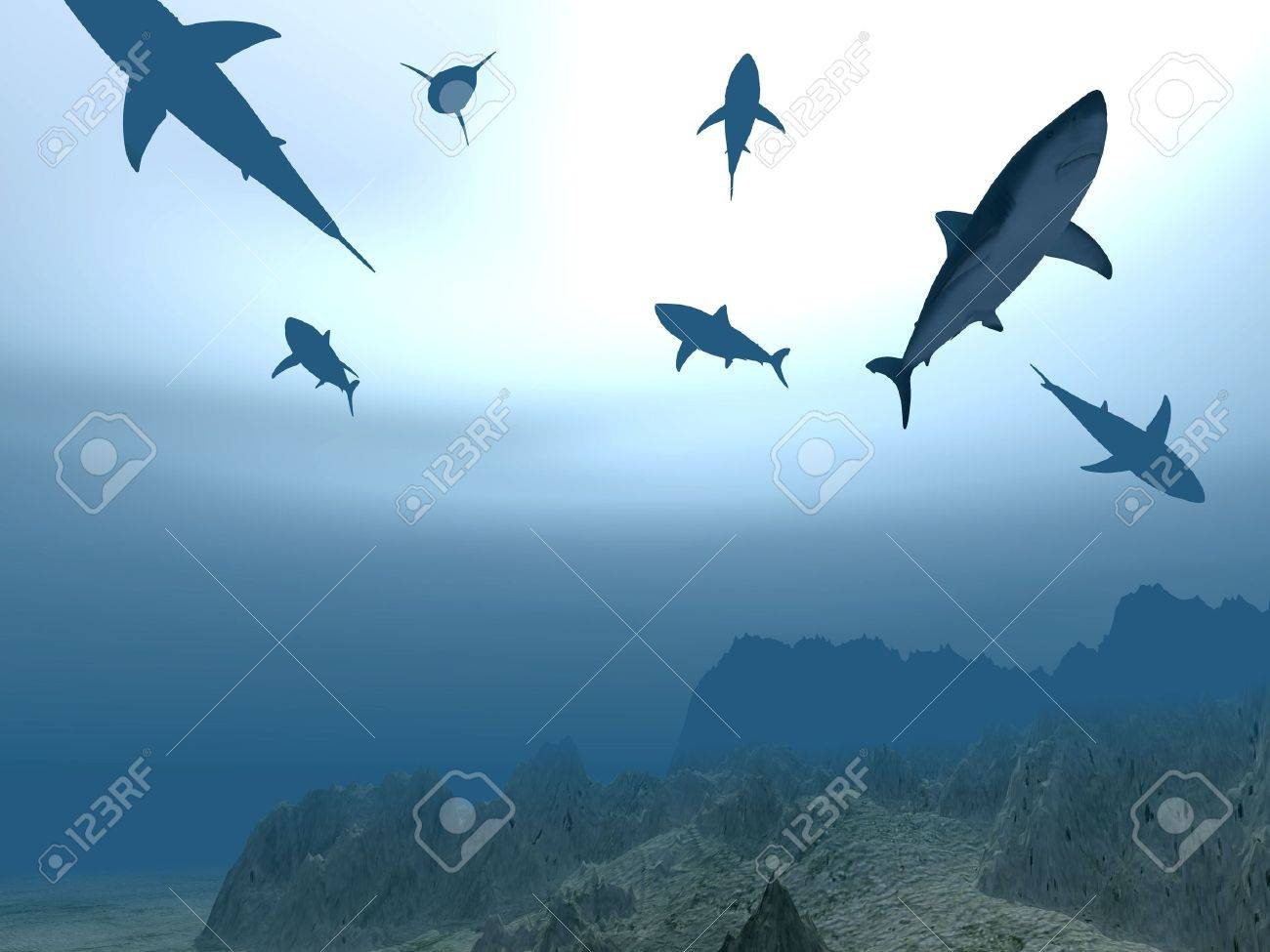 Flight of sharks in different poses near a sea-bottom on a background of light from the sun passing through water (one shark strongly pronounced) Stock Photo - 1755042