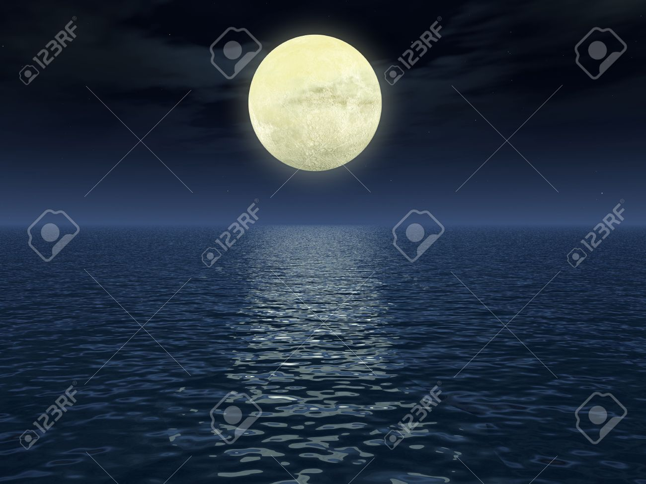 Lunar path (reflection of light of the moon on a surface of water) - very qualitative photo of the moon (craters are visible) Stock Photo - 1755471