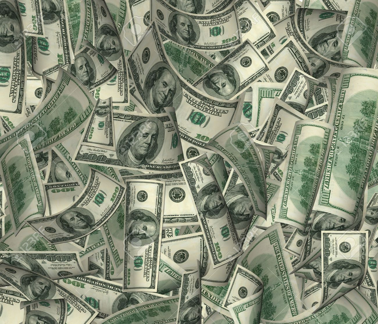 It is a lot of money (dollar of a banknote in a chaotic arrangement) Stock Photo - 1755663
