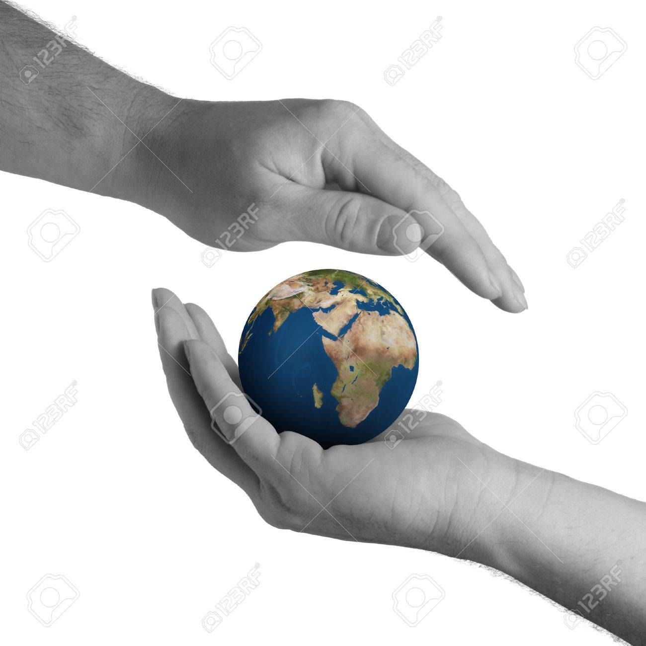 Planet the earth in human hands. Concept about preservation of the environment Stock Photo - 3379613