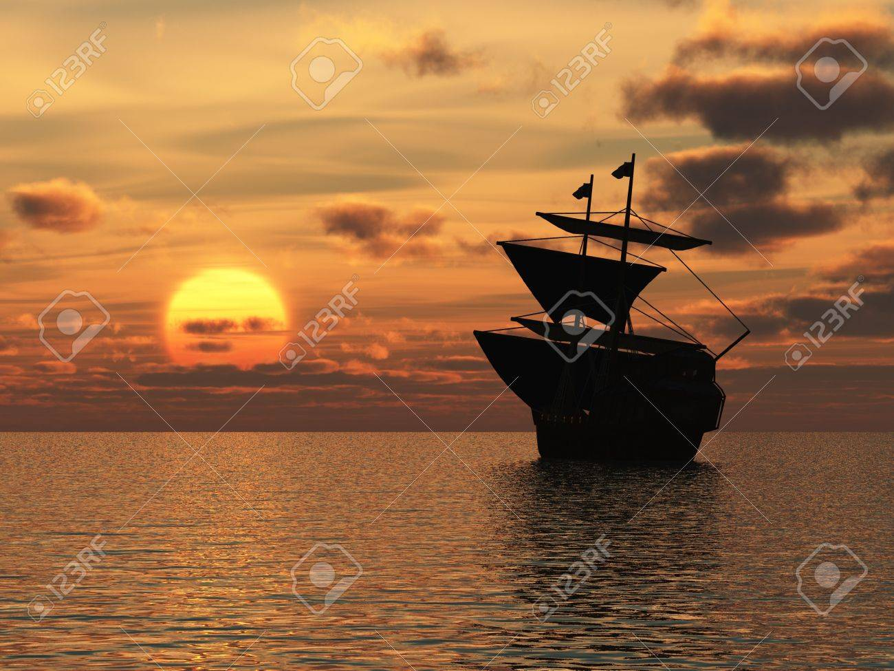 Segeln sonnenuntergang  Das Schiff In Sonnenuntergang. Eine Schwimmende Schiff Segeln Auf ...