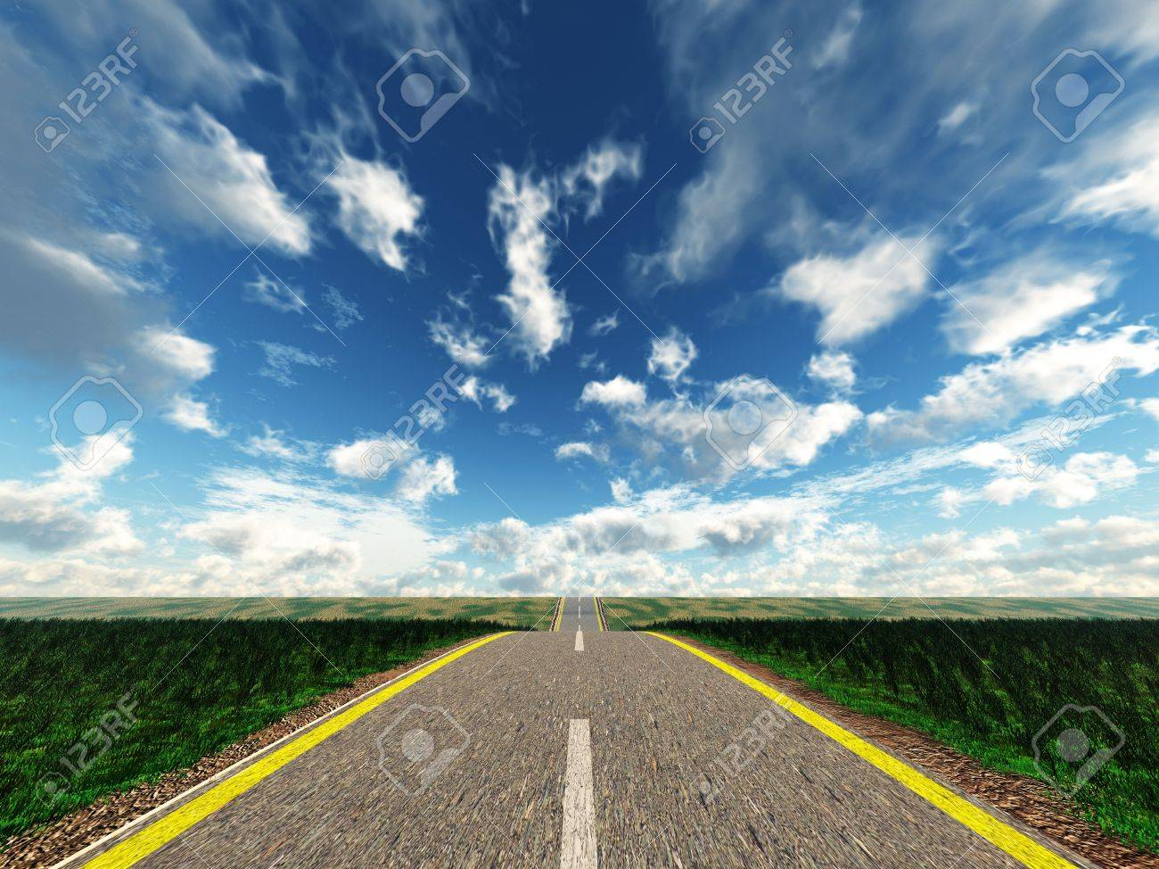 Road. An automobile highway on a background of the effective sky and a green landscape Stock Photo - 3839651