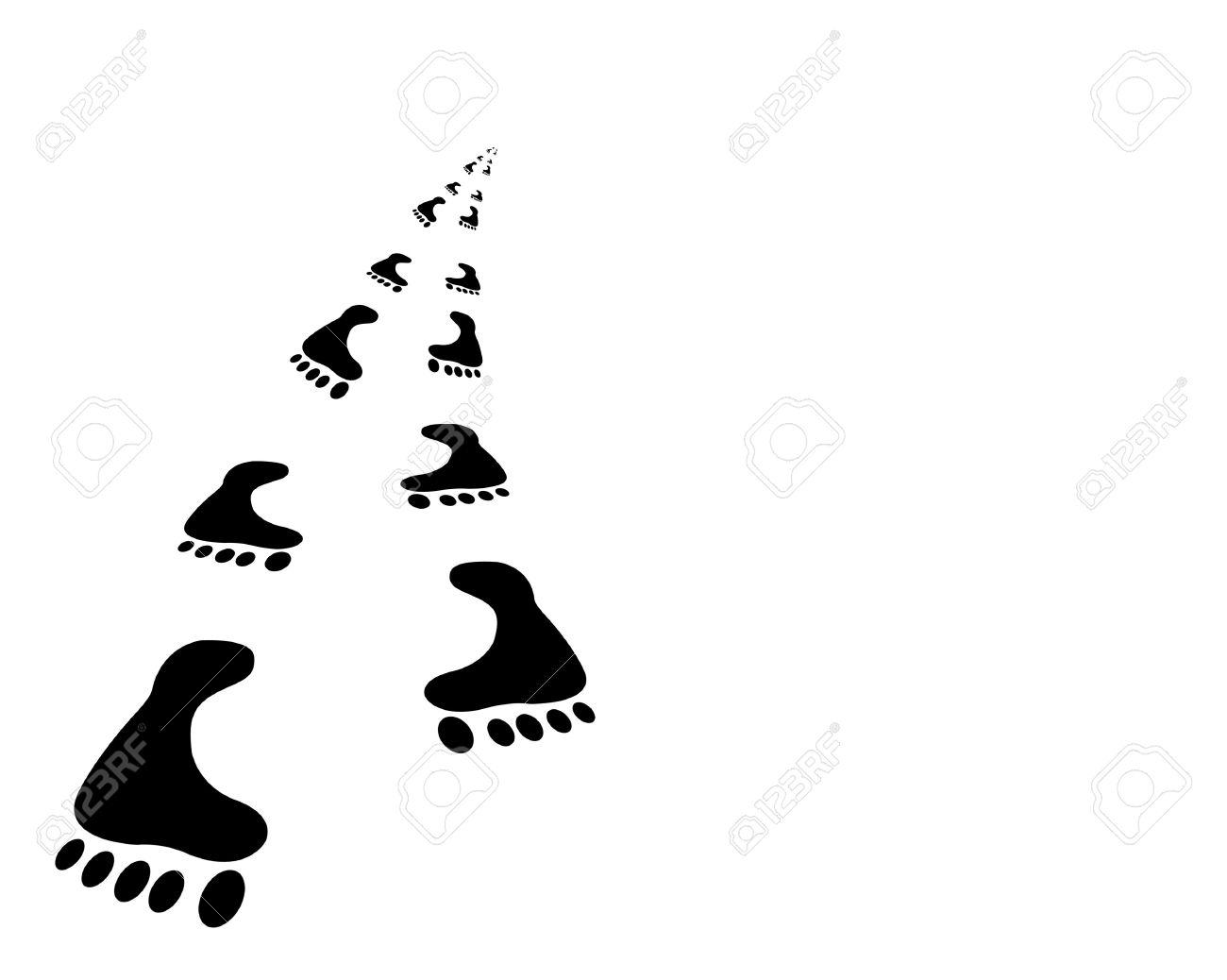 Human traces. It is isolated on a white background àñáñòðàêòíîå the image of traces from legs of the person Stock Photo - 3859626