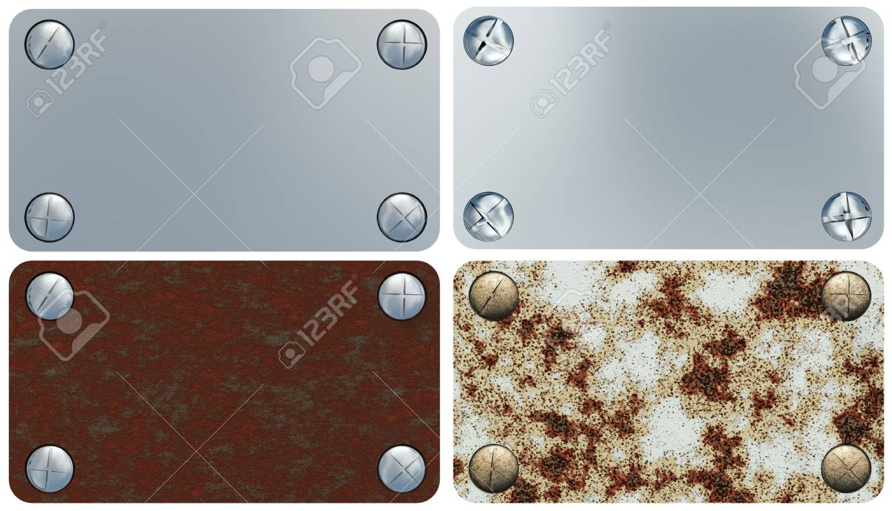 Set of iron labels. It is isolated on a white background Stock Photo - 4289914