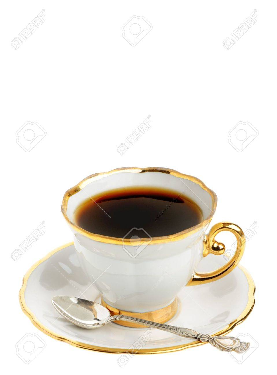 Stilvolle Tasse Kaffee Mit Silbernen Löffel. Eine Tasse Kaffee Mit ...