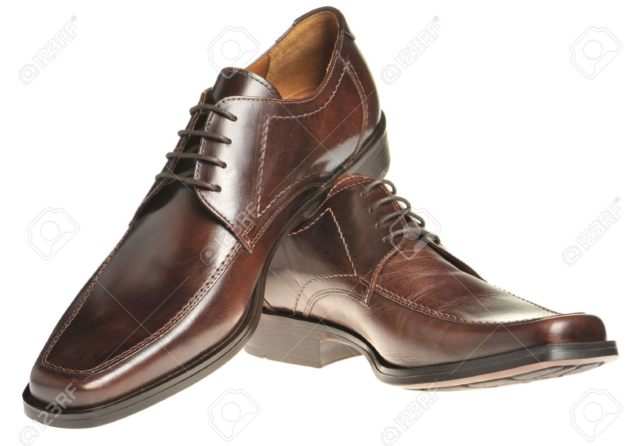 Shiny red boots pair a shoe a brown leather mans shoes isolated on a