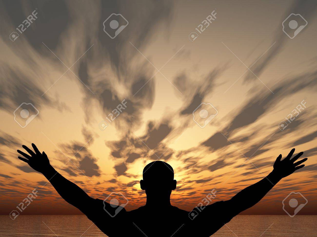 Meeting of the sun. The man on with the hands lifted above, on a background of a sunset Stock Photo - 7238477
