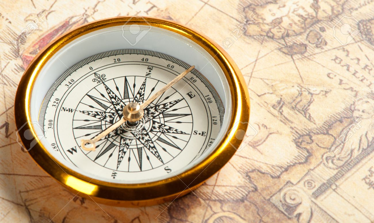 Old Compass On Ancient Map A Compass With The Antique Image - Antiques us maps with compass