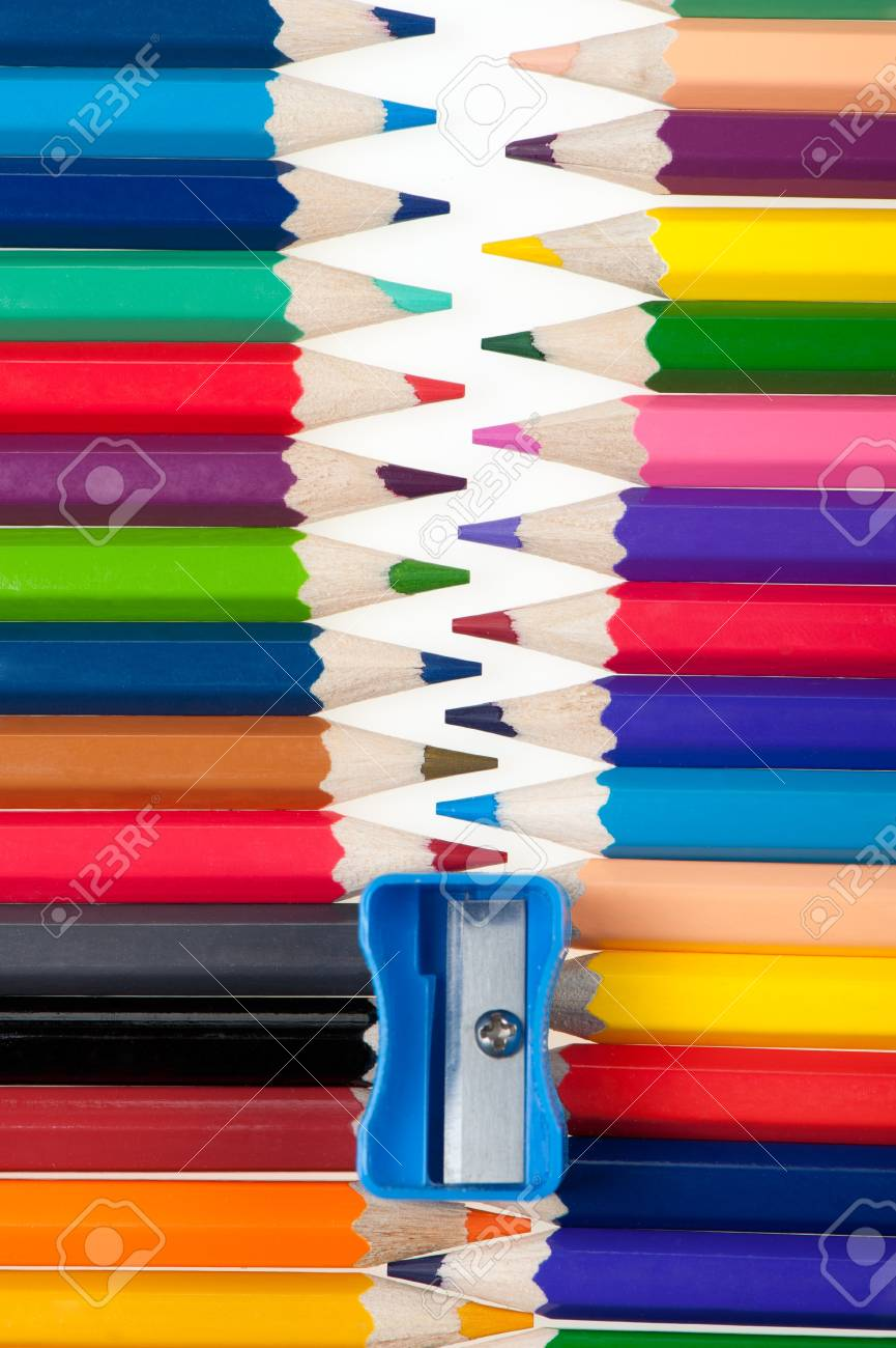 Fastener from color pencils. Abstract concept Stock Photo - 8794075