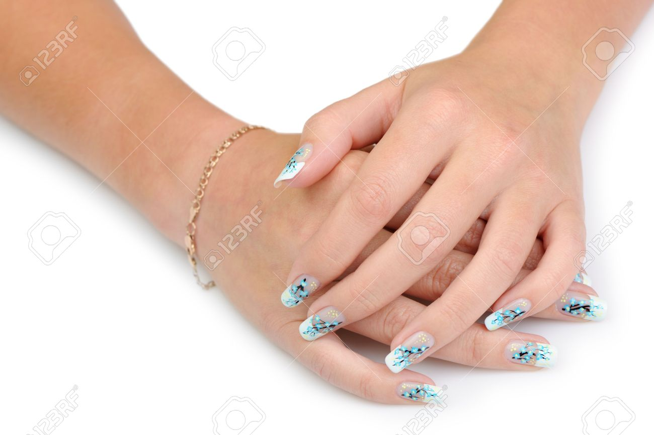 Female hands with manicure close up. Drawing of a branch with blue flowers. It is isolated on a white background. Stock Photo - 12543423