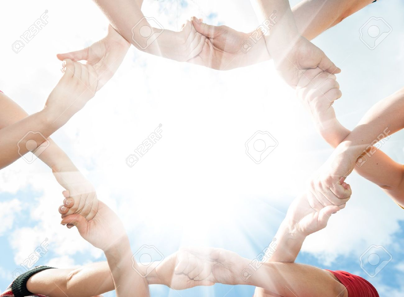 Crossed his hands in the shape of a circle in the sky Stock Photo - 13240539