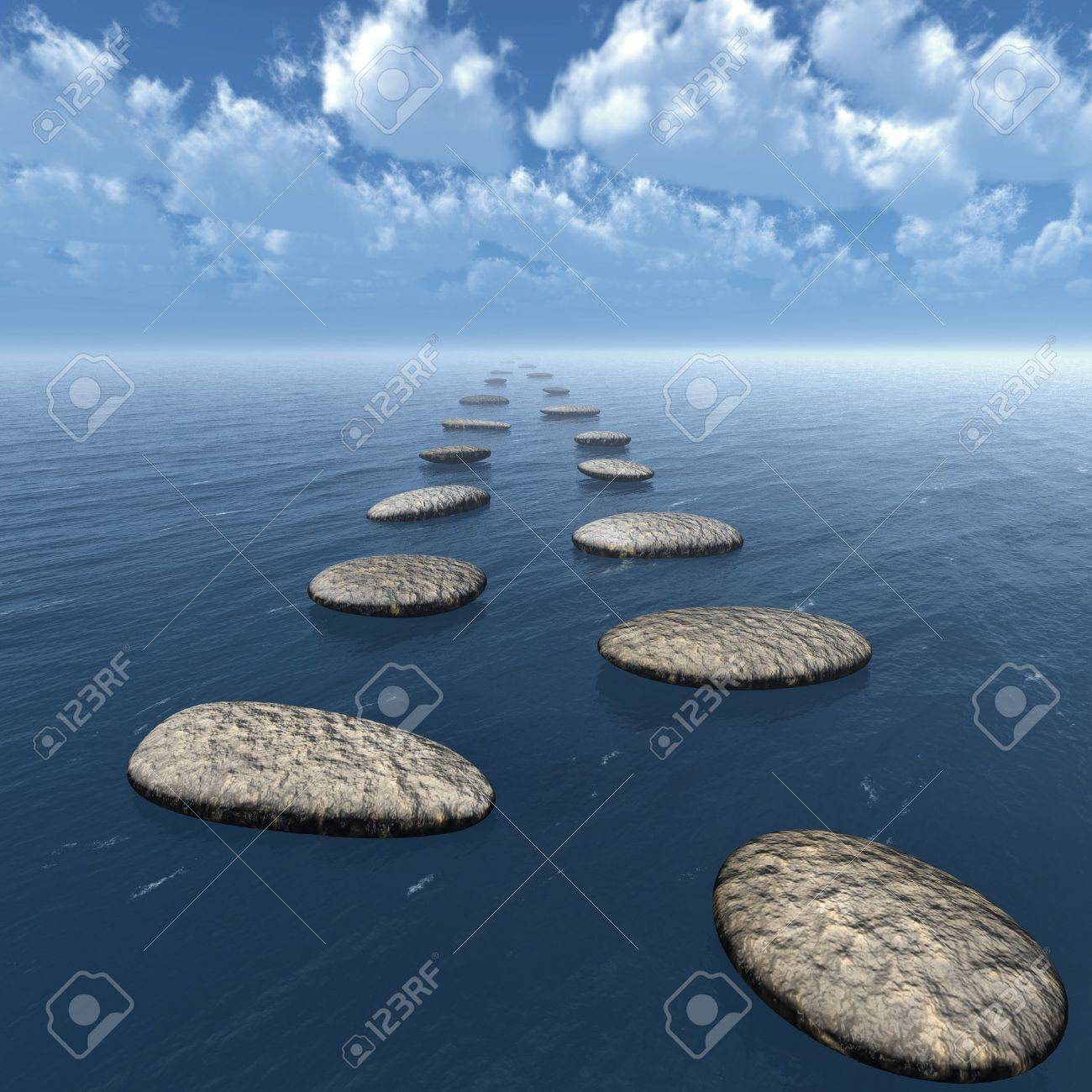 The stones in the water. Blue colour sky Stock Photo - 14216312