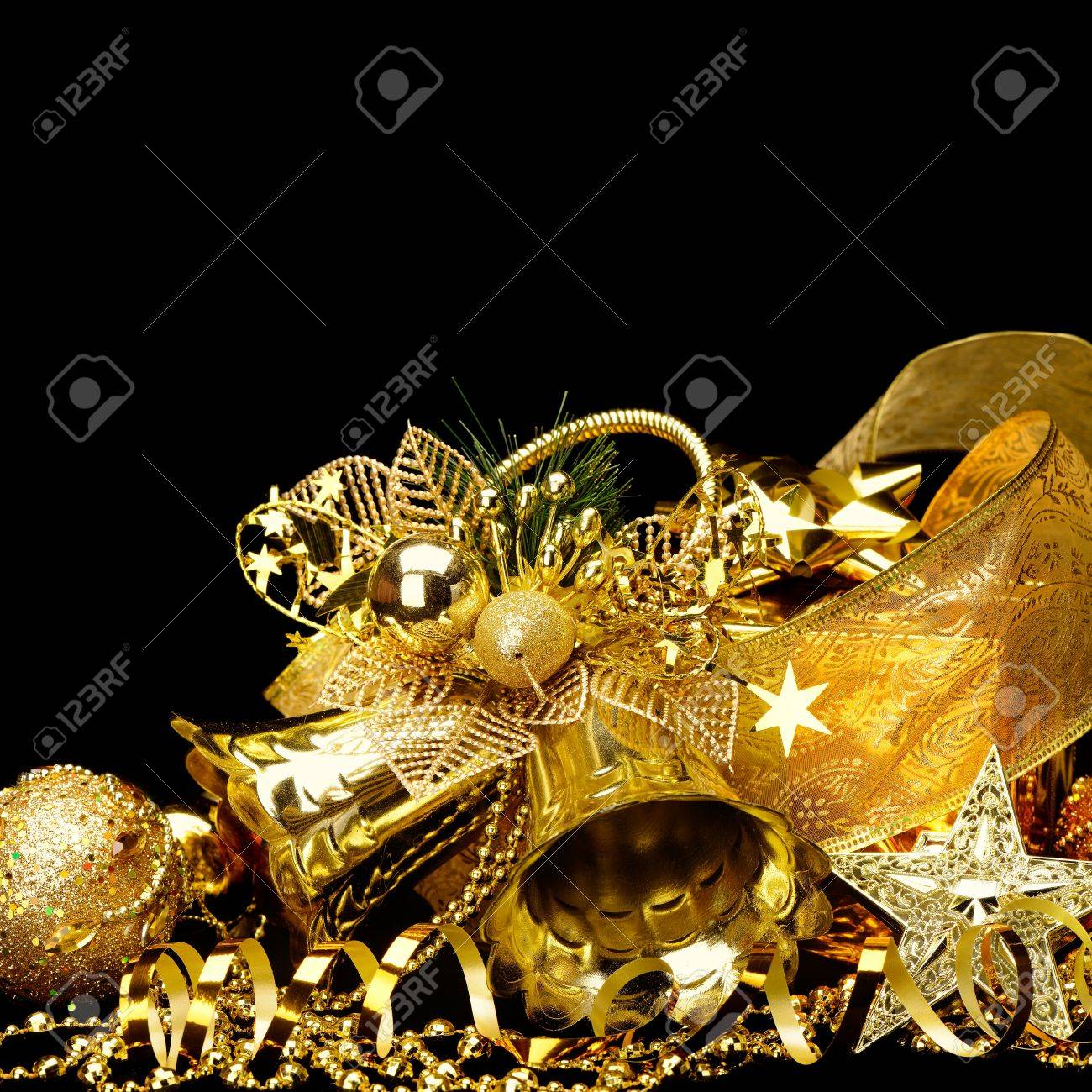 Gold Christmas Decorations Boxes Ribbons Stars Bells On Black