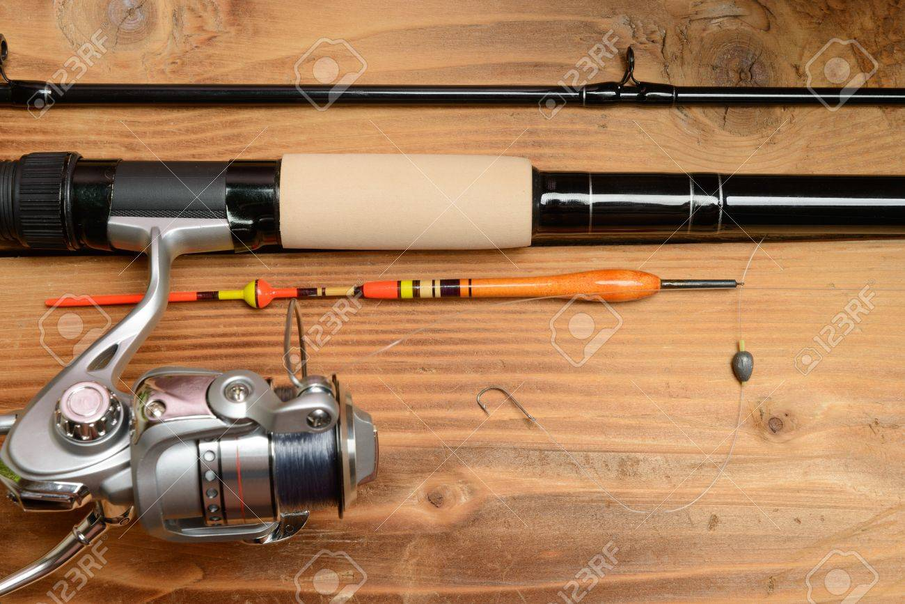 objects for fishing. the rod with reel, a float, fishing line, Reel Combo