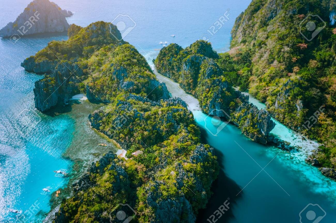Aerial Drone View Of Big Lagoon And Majestic Rocks Discover