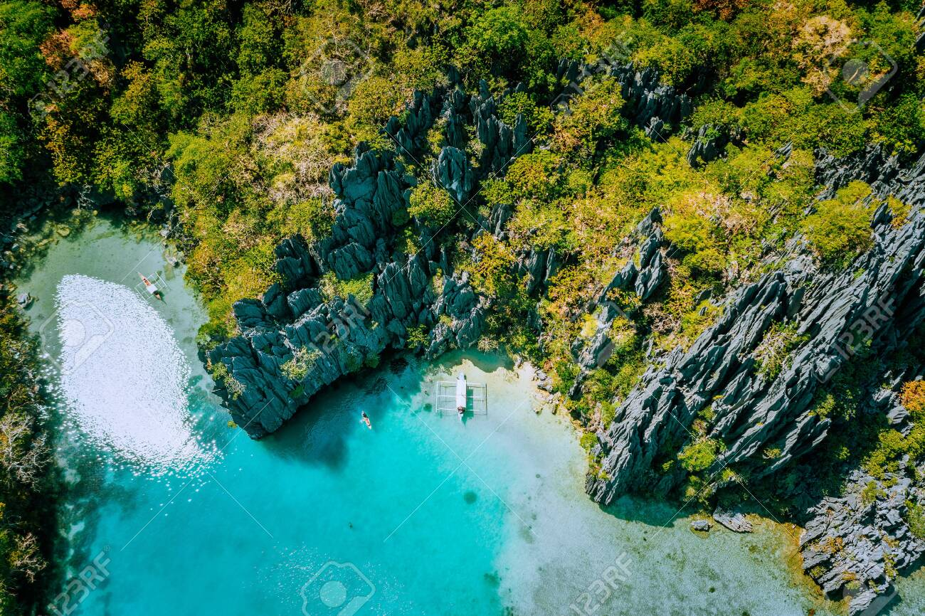 Marine Reserve El Nido Palawan Philippines Aerial View Of Tropical