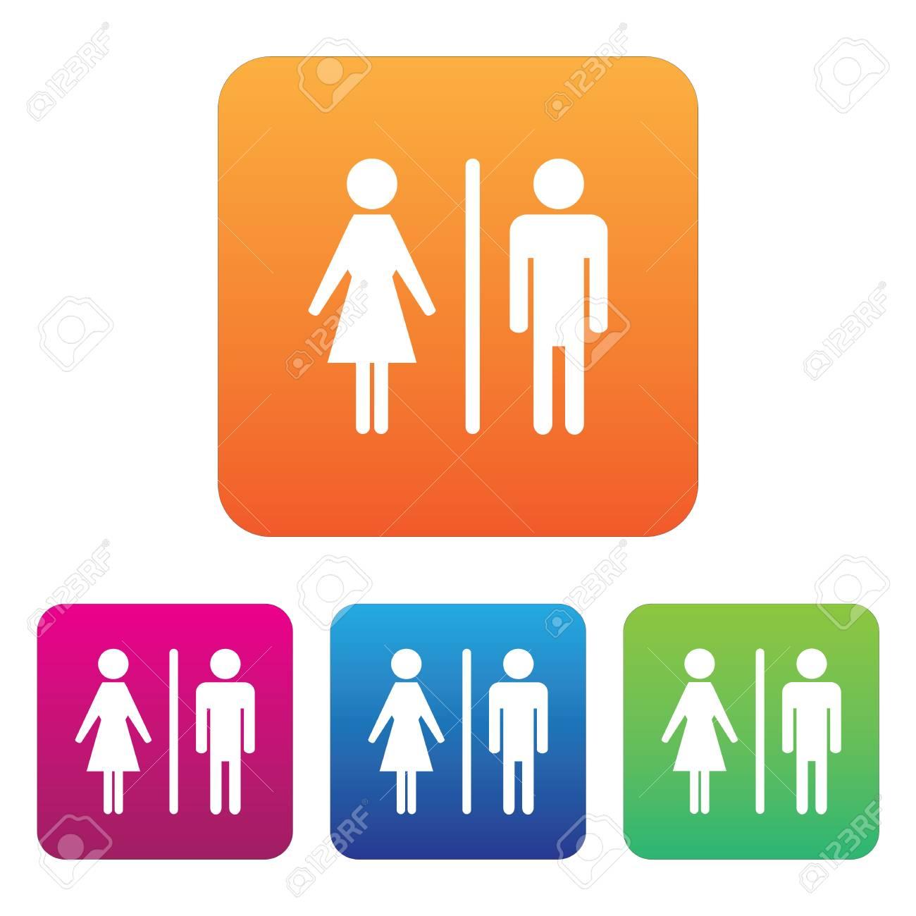 Homme Femme Toilettes Symbole Icône Des Variations De Couleurs Clip