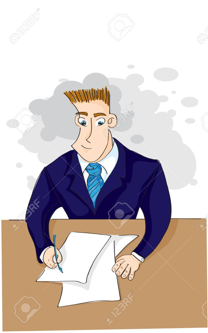 businessman signs a paper Stock Vector - 6982016