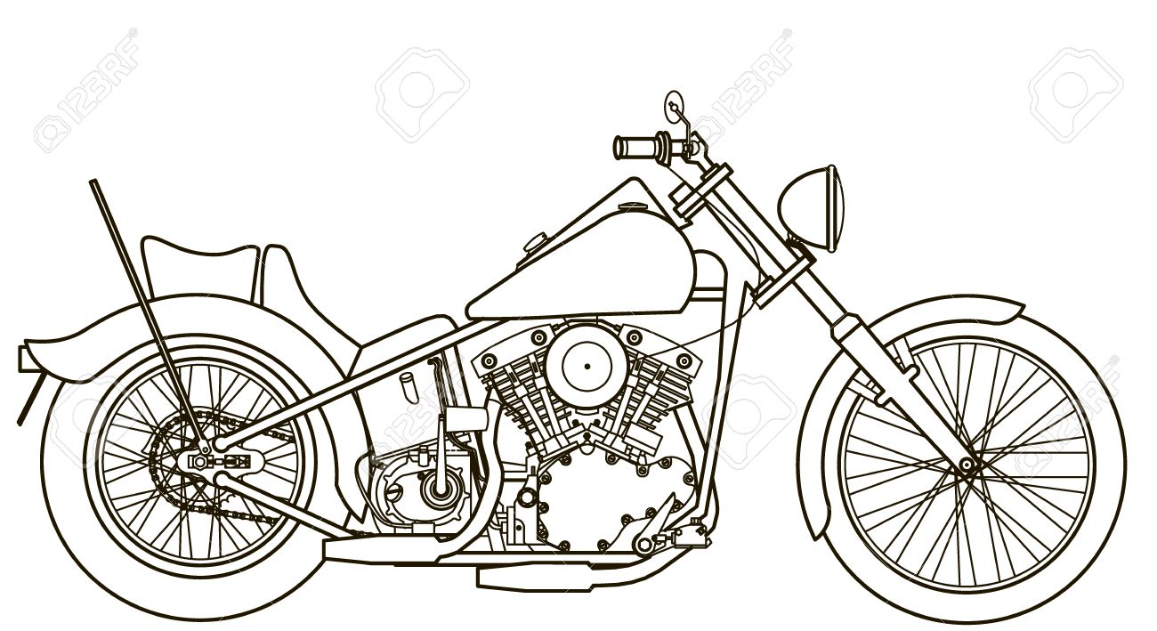 Motorcycle Line Drawing Royalty Free Cliparts Vectors And Stock