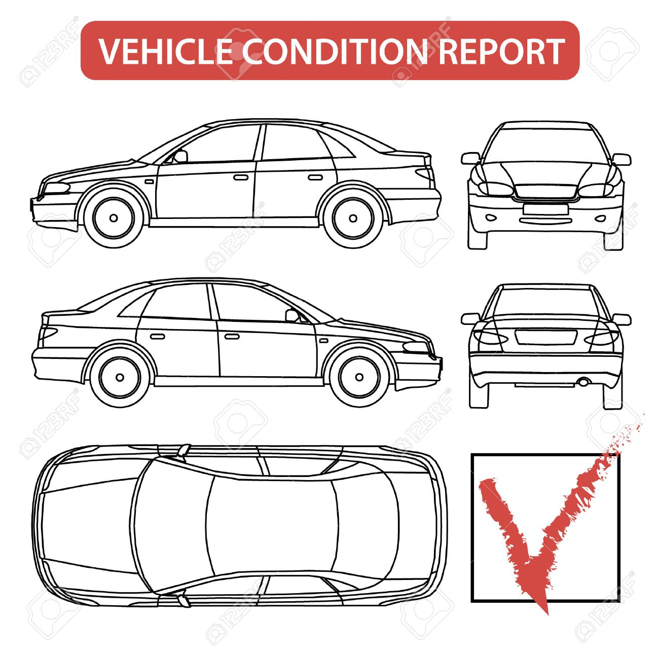 Car Condition Report Car Checklist Auto Damage Inspection Vector