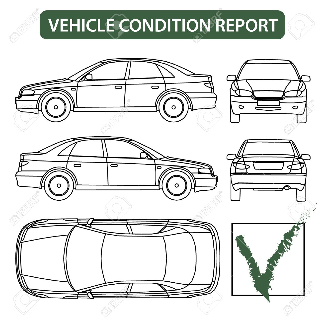 Vehicle Condition Report Car Checklist, Auto Damage Inspection ...
