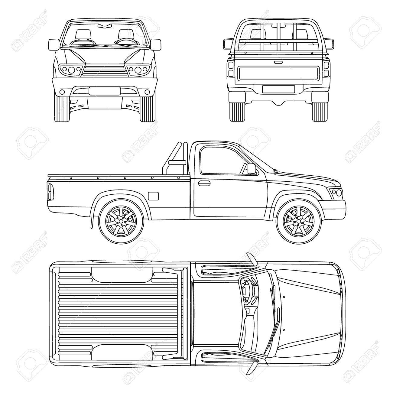 Pickup truck illustration blueprint royalty free cliparts vectors pickup truck illustration blueprint stock vector 55832520 malvernweather Image collections