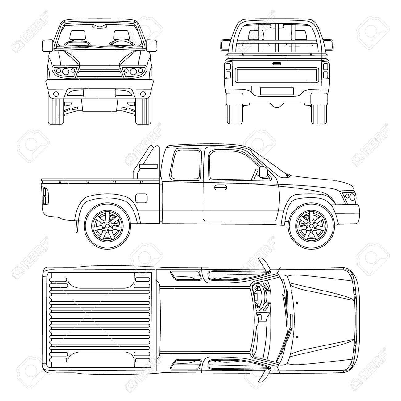 Pickup truck illustration blueprint royalty free cliparts vectors pickup truck illustration blueprint stock vector 55832522 malvernweather Image collections