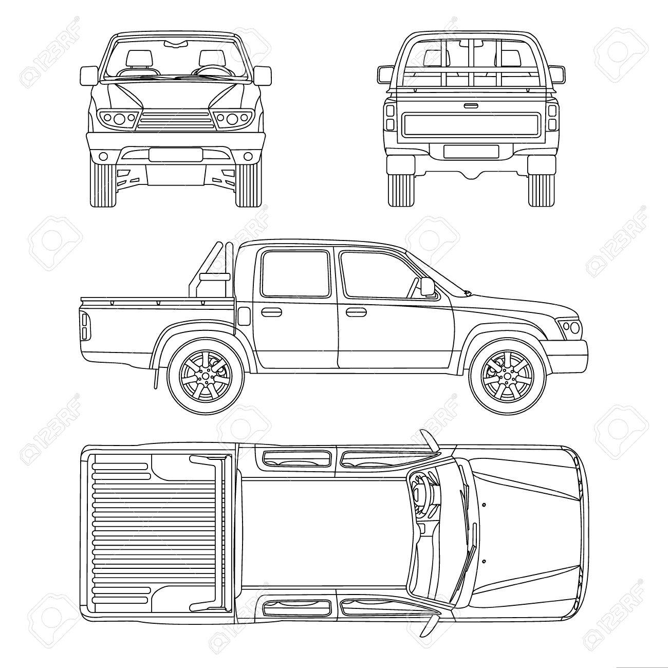 Pickup Truck Illustration Blueprint Royalty Free Cliparts, Vectors ...