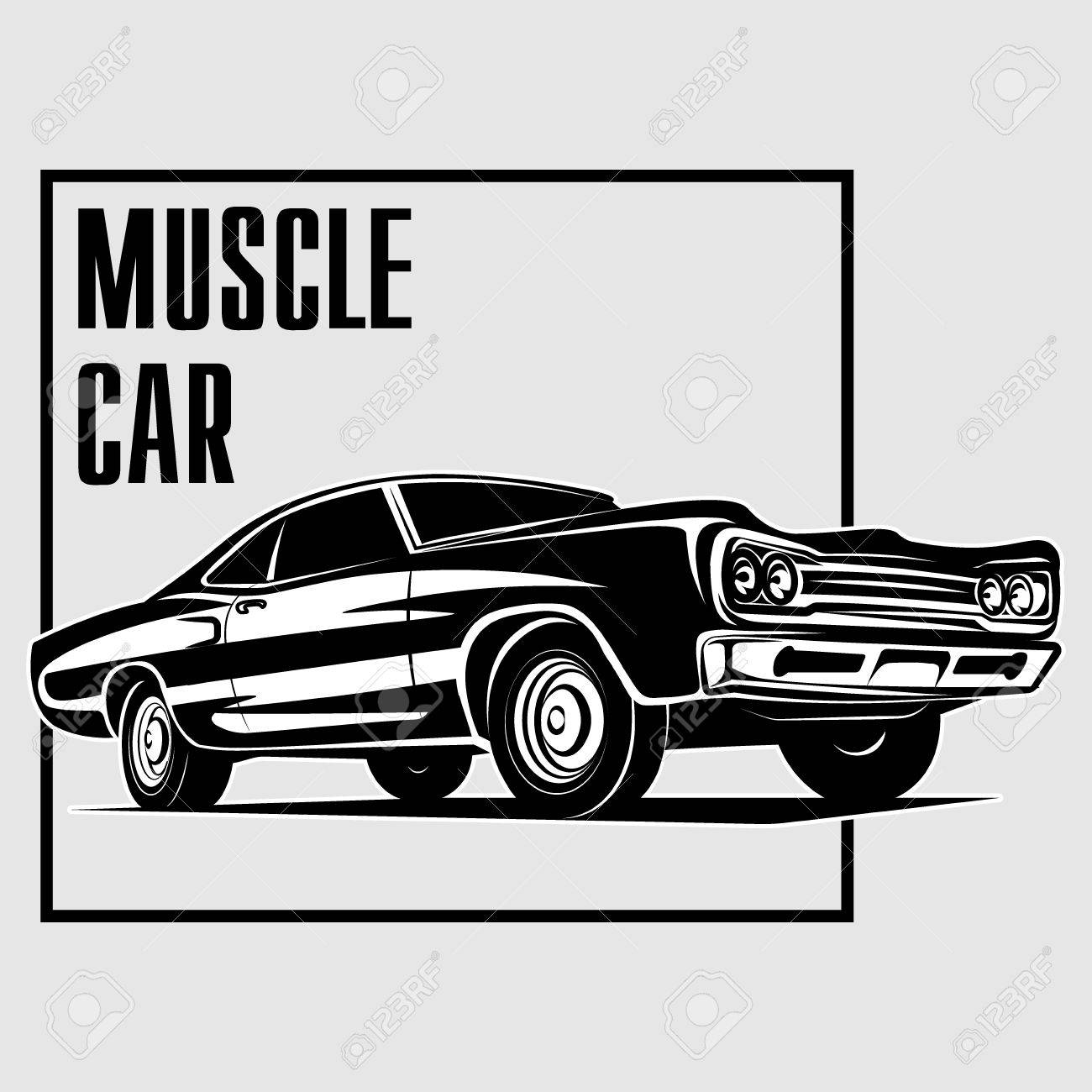 Muscle Car Retro Vector Poster Vector Royalty Free Cliparts