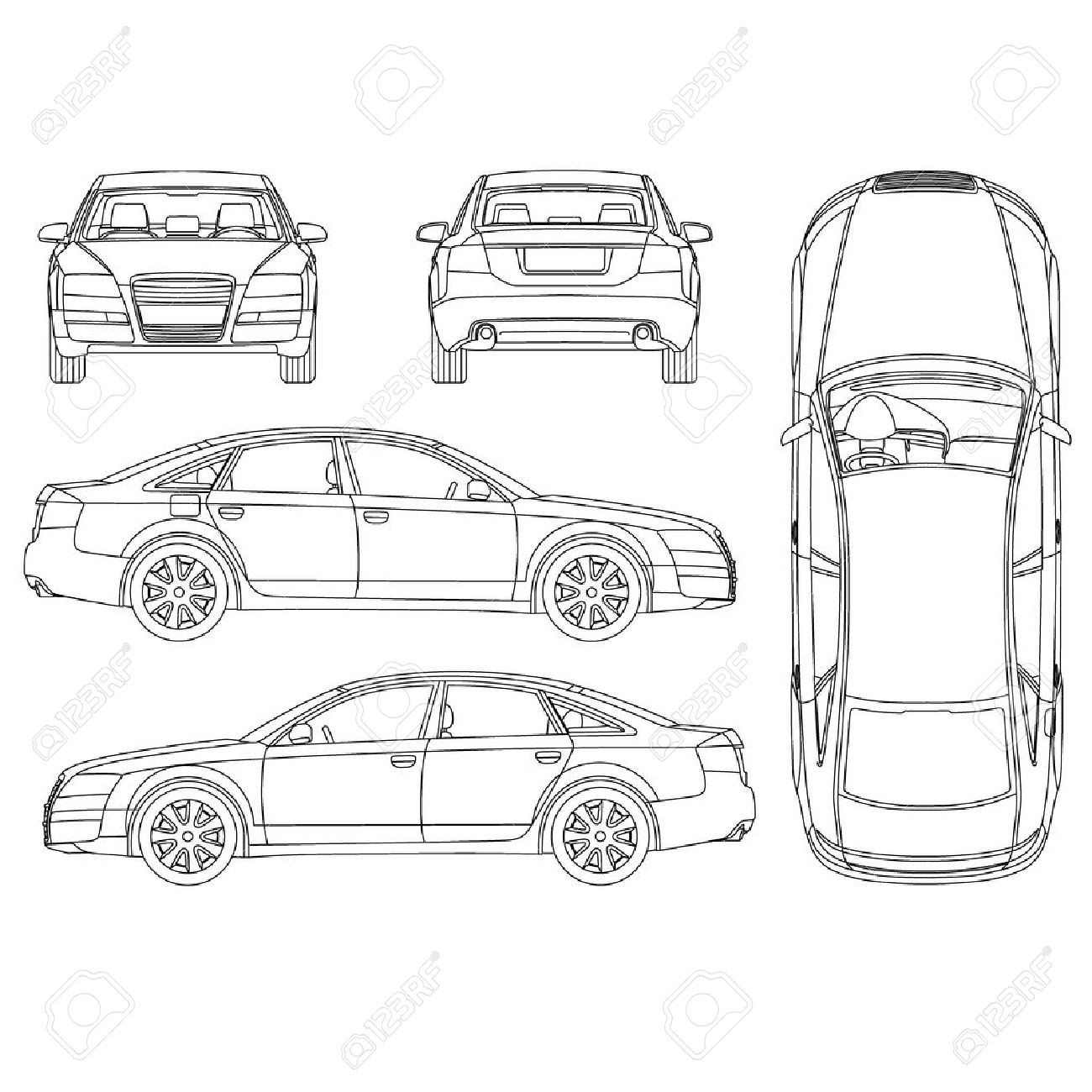 Car All View, Top, Side, Back, Front Royalty Free Cliparts, Vectors ...