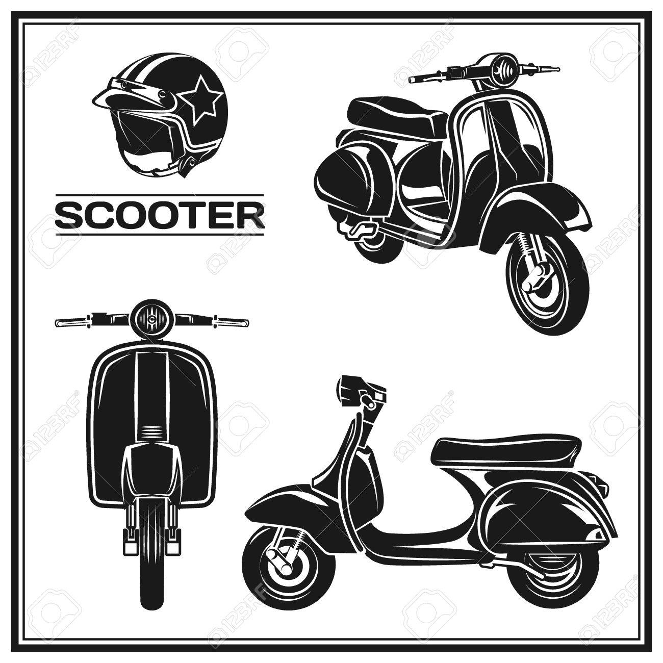 set of classic scooter emblems icons and badges urban street royalty free cliparts vectors and stock illustration image 58812885 set of classic scooter emblems icons and badges urban street